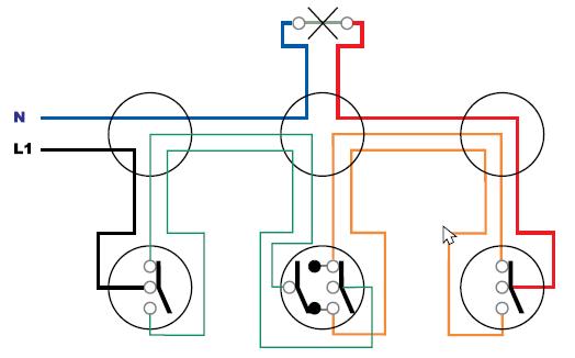 Σχήμα 6.1: Παράδειγμα πολυγραμμικού σχεδίου απλού φωτιστικού σημείου με δυο ακραίους και μεσαίους διακόπτες εναλλαγής (αλλέ-ρετούρ)