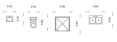 Σχήμα 5.1: Διαστάσεις ειδών υγιεινής (νιπτήρας, λεκάνη, ντουζιέρα, νεροχύτης)