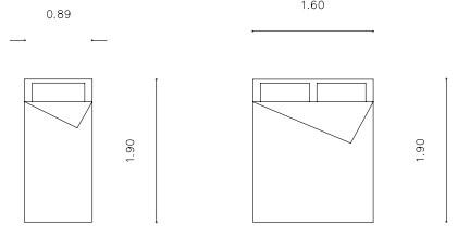 Σχήμα 5.3: Διαστάσεις κρεβατιών (κανονικό μονό, κανονικό διπλό)