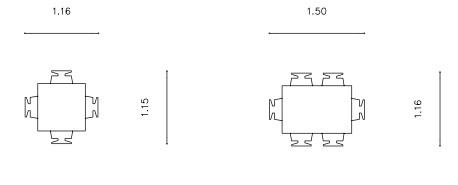 Σχήμα 5.5: Διαστάσεις τραπεζιών