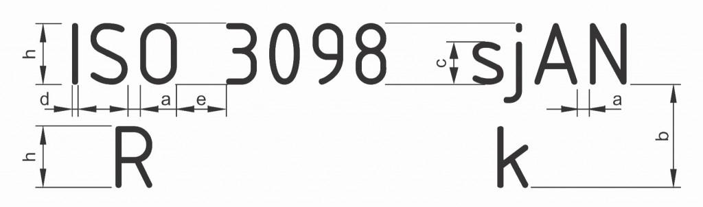 Σχήμα 3.17: Τυποποιημένες αποστάσεις μεταξύ γραμμάτων και γραμμών σύμφωνα με το πρότυπο ISO 3098.
