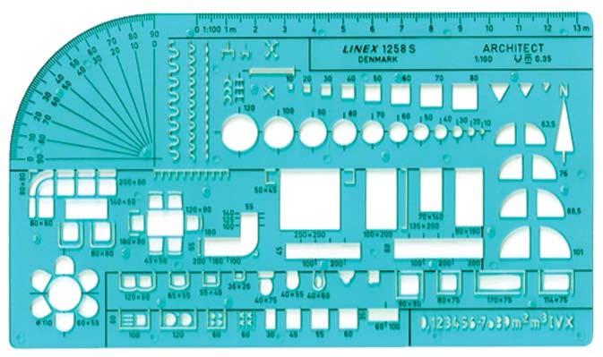 Εικόνα 5.1: Stencil για τη σχεδίαση αρχιτεκτονικών σχημάτων (κλίμακα 1:100).