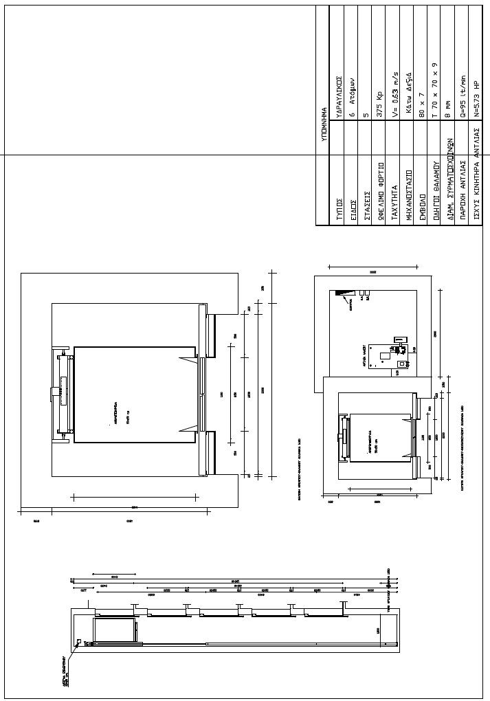 Σχέδιο 5.32: Διάφορες όψεις του φρέατος του υδραυλικού ανελκυστήρα, σχεδιασμένες υπό διαφορετική κλίμακα.