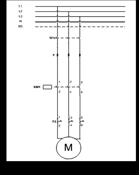 Σχήμα 7.18: Κύκλωμα ισχύος εκκίνησης τριφασικού κινητήρα