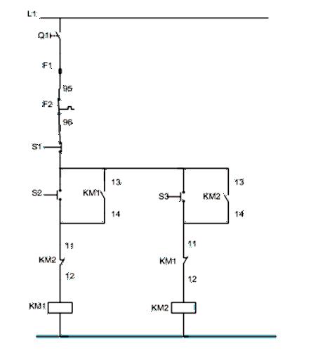 Σχήμα 7.21: Βοηθητικό κύκλωμα αλλαγής φοράς περιστροφής τριφασικού κινητήρα