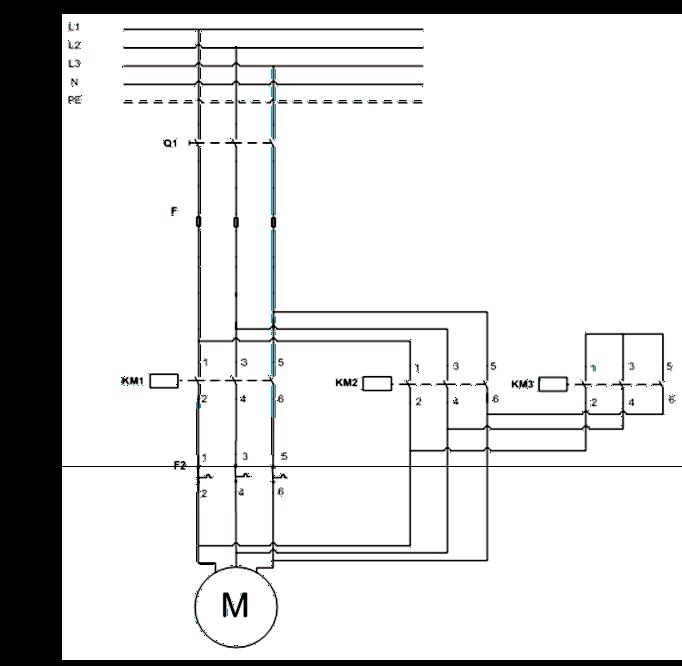 Σχήμα 7.22: Κύκλωμα ισχύος εκκίνησης τριφασικού κινητήρα με διακόπτη αστέρα-τριγώνου