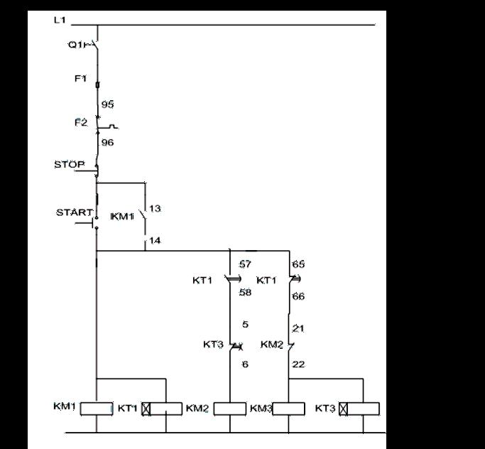 Σχήμα 7.23: Βοηθητικό κύκλωμα εκκίνησης τριφασικού κινητήρα με διακόπτη αστέρατριγώνου