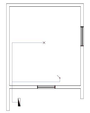 Σχήμα 6.11: Μονογραμμικό σχέδιο συνδεσμολογίας απλού φωτιστικού σημείου σε κάτοψη κατοικίας.