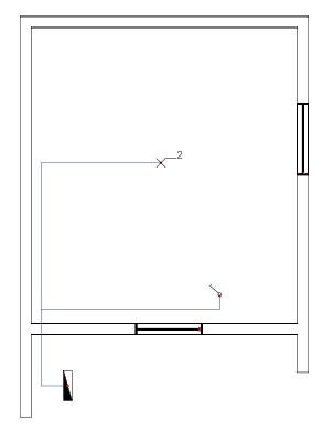 Σχήμα 6.15: Μονογραμμικό σχέδιο συνδεσμολογίας δύο φωτιστικών σημείων σε κάτοψη κατοικίας.