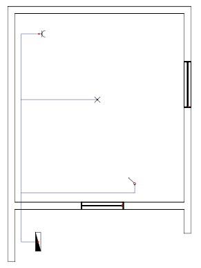 Σχήμα 6.19: Μονογραμμικό σχέδιο συνδεσμολογίας απλού φωτιστικού σημείου και ρευματοδότη προστασίας (σούκο) σε κάτοψη κατοικίας.
