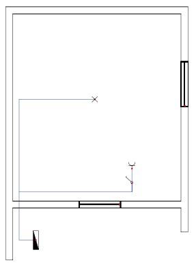 Σχήμα 6.23: Μονογραμμικό σχέδιο συνδεσμολογίας απλού φωτιστικού σημείου και ρευματοδότη προστασίας κάτω από το διακόπτη σε κάτοψη κατοικίας.