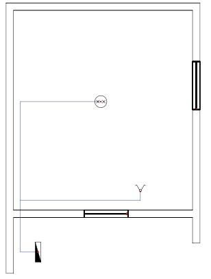 Σχήμα 6.27: Μονογραμμικό σχέδιο συνδεσμολογίας πολύφωτου με διακόπτη κομμιτατέρ σε κάτοψη κατοικίας.