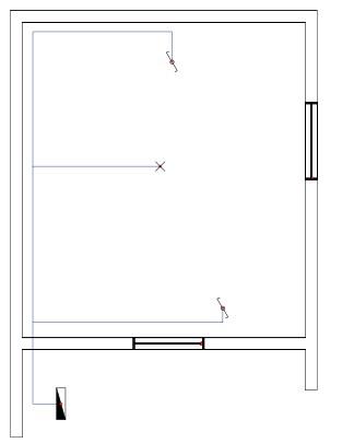 Σχήμα 6.31: Μονογραμμικό σχέδιο συνδεσμολογίας φωτιστικού σημείου με δυο ακραίους διακόπτες εναλλαγής (αλλέ-ρετούρ) σε κάτοψη κατοικίας.