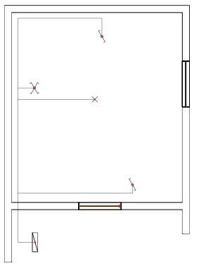 Σχήμα 6.35: Μονογραμμικό σχέδιο συνδεσμολογίας φωτιστικού σημείου με δυο ακραίους και έναν μεσαίο διακόπτες εναλλαγής (αλλέ-ρετούρ) σε κάτοψη κατοικίας.