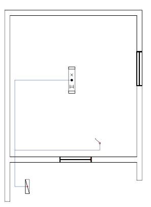 Σχήμα 6.39: Μονογραμμικό σχέδιο συνδεσμολογίας λαμπτήρα φθορισμού σε κάτοψη κατοικίας.