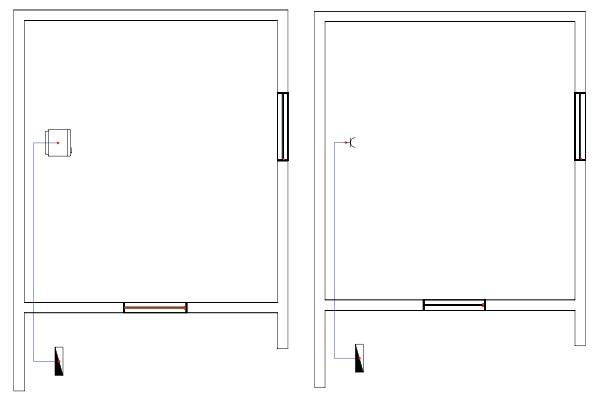 Σχήμα 6.40: Μονογραμμικό σχέδιο γραμμής ηλεκτρικού ψυγείου σε κάτοψη κατοικίας.