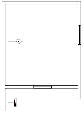 Σχήμα 6.41: Μονογραμμικό σχέδιο γραμμής θερμοσίφωνα σε κάτοψη κατοικίας.