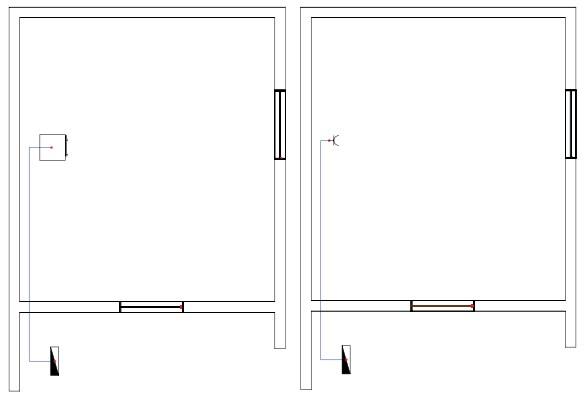 Σχήμα 6.42: Μονογραμμικό σχέδιο γραμμής πλυντηρίου σε κάτοψη κατοικίας.