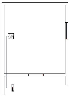 Σχήμα 6.43: Μονογραμμικό σχέδιο γραμμής ηλεκτρικής κουζίνας σε κάτοψη κατοικίας.