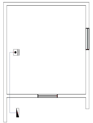 Σχήμα 6.44: Μονογραμμικό σχέδιο γραμμής κλιματιστικού σώματος σε κάτοψη κατοικίας.