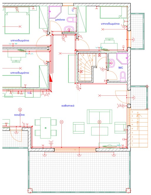 Σχήμα 6.61: Σχέδιο ηλεκτρολογικής εγκατάστασης μονοκατοικίας