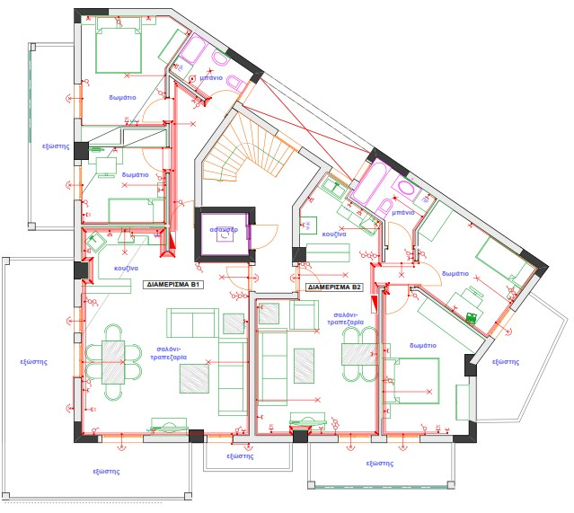 Σχήμα6.62: Σχέδιο ηλεκτρολογικής εγκατάστασης πολυκατοικίας