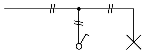 Σχήμα 6.9: Μονογραμμικό σχέδιο συνδεσμολογίας απλού φωτιστικού σημείου.