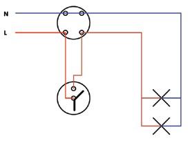 (γ) Σχήμα 6.12: Πολυγραμμικό σχέδιο συνδεσμολογίας δύο φωτιστικών σημείων.