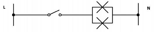 Σχήμα 6.14: Αναπτυγμένο ή Λειτουργικό σχέδιο συνδεσμολογίας δύο φωτιστικών σημείων.