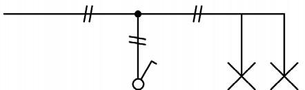 Σχήμα 6.13: Μονογραμμικό σχέδιο συνδεσμολογίας δύο φωτιστικών σημείων.