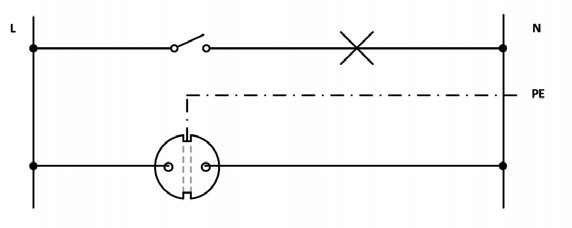 Σχήμα 6.18: Αναπτυγμένο ή Λειτουργικό σχέδιο συνδεσμολογίας απλού φωτιστικού σημείου και ρευματοδότη προστασίας (σούκο).
