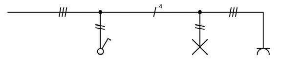 Σχήμα 6.17: Μονογραμμικό σχέδιο συνδεσμολογίας απλού φωτιστικού σημείου και ρευματοδότη προστασίας (σούκο).