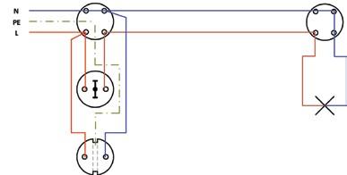 Σχήμα 6.20: Πολυγραμμικό σχέδιο συνδεσμολογίας απλού φωτιστικού σημείου και ρευματοδότη προστασίας κάτω από το διακόπτη.