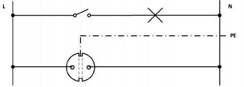 Σχήμα 6.22: Αναπτυγμένο ή Λειτουργικό σχέδιο συνδεσμολογίας απλού φωτιστικού σημείου και ρευματοδότη προστασίας κάτω από το διακόπτη.
