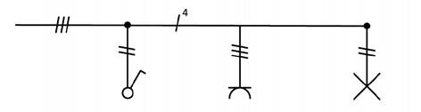 Σχήμα 6.21: Μονογραμμικό σχέδιο συνδεσμολογίας απλού φωτιστικού σημείου και ρευματοδότη προστασίας κάτω από το διακόπτη.