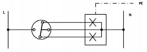 Σχήμα 6.26: Αναπτυγμένο ή Λειτουργικό σχέδιο συνδεσμολογίας πολύφωτου με διακόπτη κομμιτατέρ.