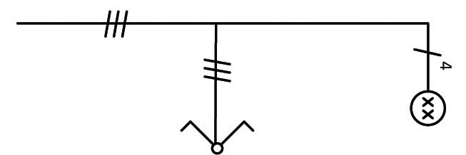 Σχήμα 6.25: Μονογραμμικό σχέδιο συνδεσμολογίας πολύφωτου με διακόπτη κομμιτατέρ.