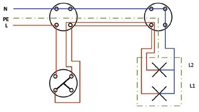 Σχήμα 6.24: Πολυγραμμικό σχέδιο συνδεσμολογίας πολύφωτου με διακόπτη κομμιτατέρ.