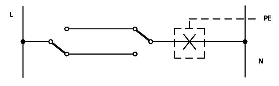 Σχήμα 6.30: Αναπτυγμένο ή Λειτουργικό σχέδιο συνδεσμολογίας φωτιστικού σημείου με δυο ακραίους διακόπτες εναλλαγής (αλλέ-ρετούρ).