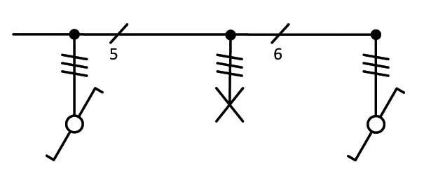 Σχήμα 6.29: Μονογραμμικό σχέδιο συνδεσμολογίας φωτιστικού σημείου με δυο ακραίους διακόπτες εναλλαγής (αλλέ-ρετούρ).