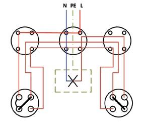Σχήμα 6.28: Πολυγραμμικό σχέδιο συνδεσμολογίας φωτιστικού σημείου με δυο ακραίους διακόπτες εναλλαγής (αλλέ-ρετούρ).