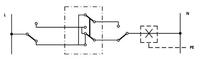 Σχήμα 6.34: Αναπτυγμένο ή Λειτουργικό σχέδιο συνδεσμολογίας φωτιστικού σημείου με δυο ακραίους και ένα μεσαίο διακόπτες εναλλαγής (αλλέ-ρετούρ).