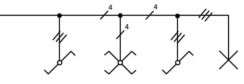 Σχήμα 6.33: Μονογραμμικό σχέδιο συνδεσμολογίας φωτιστικού σημείου με δυο ακραίους και ένα μεσαίο διακόπτες εναλλαγής (αλλέ-ρετούρ).