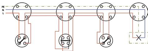 Σχήμα 6.32: Πολυγραμμικό σχέδιο συνδεσμολογίας φωτιστικού σημείου με δυο ακραίους και ένα μεσαίο διακόπτες εναλλαγής (αλλέ-ρετούρ).