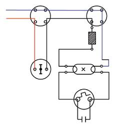Σχήμα 6.36: Πολυγραμμικό σχέδιο συνδεσμολογίας λαμπτήρα φθορισμού.