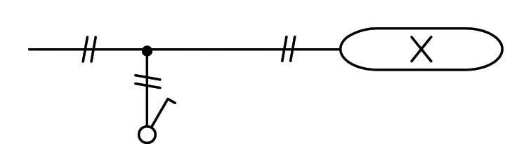 Σχήμα 6.37: Μονογραμμικό σχέδιο συνδεσμολογίας λαμπτήρα φθορισμού.