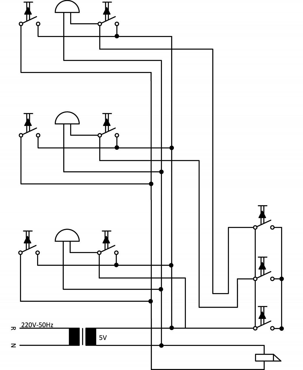 Σχήμα 6.45: Πολυγραμμικό σχέδιο συνδεσμολογίας γραμμής ηλεκτρικών κουδουνιών και ηλεκτρικής κλειδαριάς.
