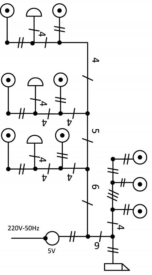 Σχήμα 6.46: Μονογραμμικό σχέδιο συνδεσμολογίας γραμμής ηλεκτρικών κουδουνιών και ηλεκτρικής κλειδαριάς.