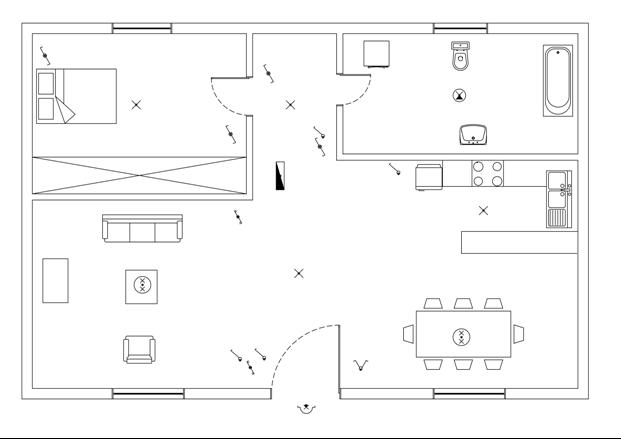 Σχήμα 6.50: Τοποθέτηση διακοπτών φωτιστικών σημείων.