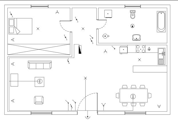 Σχήμα 6.54: Γραμμή φωτισμού καθιστικού - τραπεζαρίας.